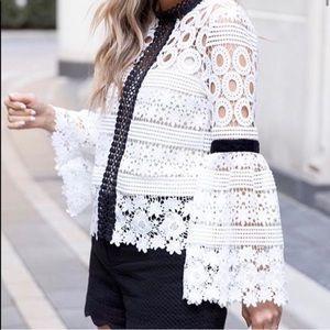 CHIC WISH Bell Sleeve White/Black Crochet Top XS